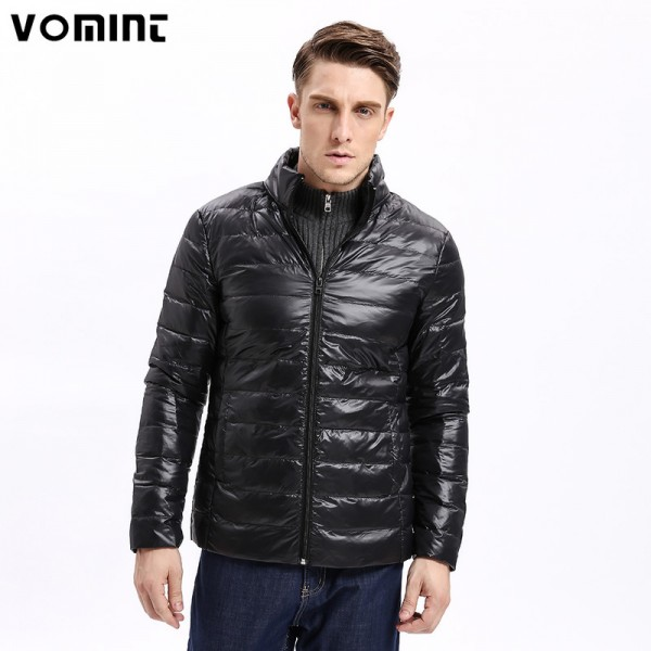 Vomint Winter Light Weight Men Down Jacket Casual Back Stitching Slim Fit Warm Down Coat Stand Collar Male Extra Image 1