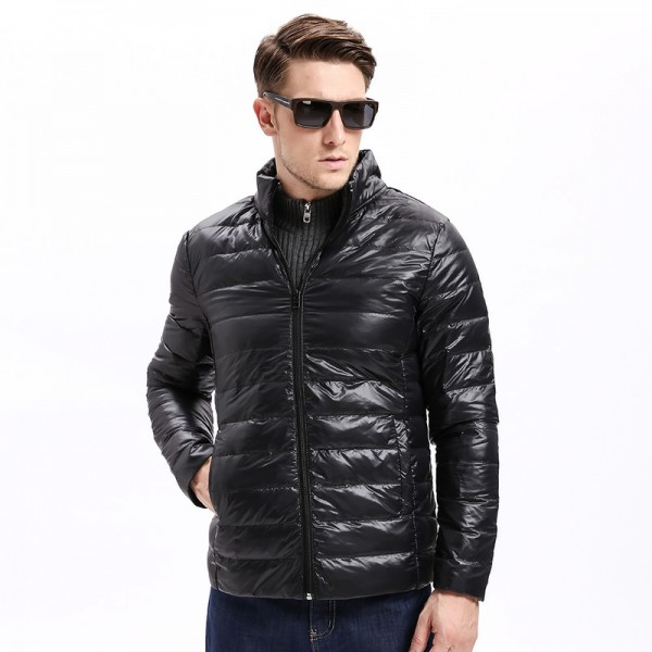 Vomint Winter Light Weight Men Down Jacket Casual Back Stitching Slim Fit Warm Down Coat Stand Collar Male