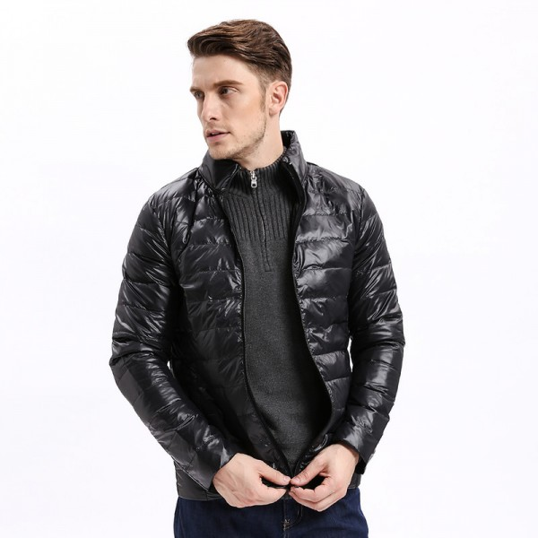 Vomint Winter Light Weight Men Down Jacket Casual Back Stitching Slim Fit Warm Down Coat Stand Collar Male Extra Image 4