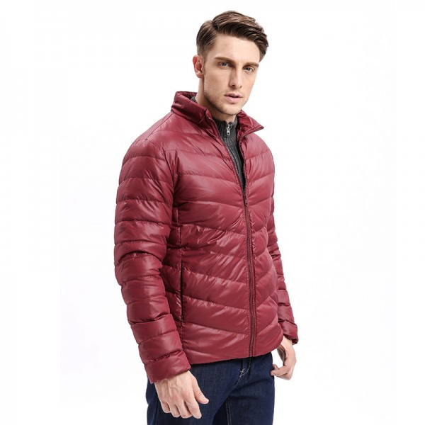Vomint Winter New Mens Down Jacket Mid Weight Solid Color Slim Fit Warm Down Long Smart Casual Business Wear Extra Image 2