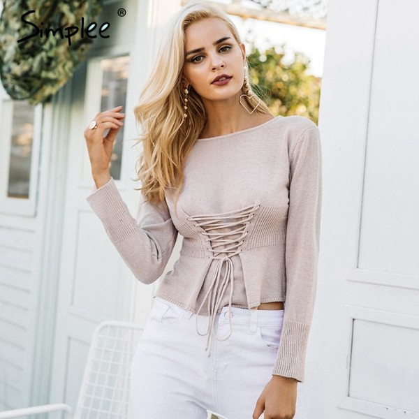 Waistband lace up knitted sweater women jersey Round neck casual knitting jumper Winter sweater pullover female