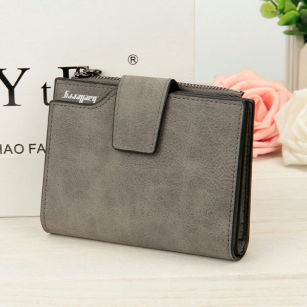 Wallets Letter Snap Fastener Zipper Short Clutch Vintage Matte Women Wallet Small Female Purse Short Purse Extra Image 4