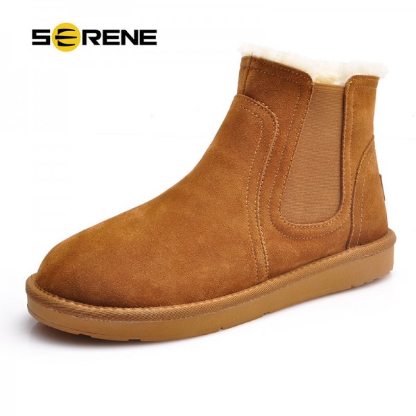 Warm Fur Snow Men Chelsea Boots Fashion Suede Slip On Ankle Snow Male Shoes Teenager Non Slip Footwear Extra Image 1