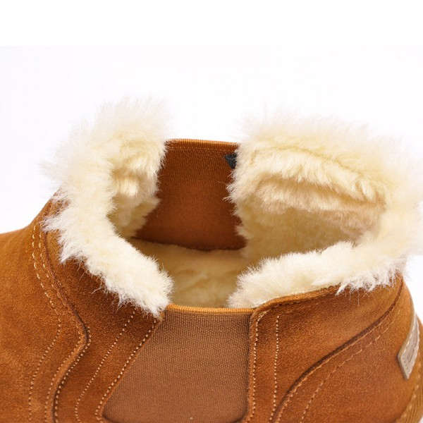 Warm Fur Snow Men Chelsea Boots Fashion Suede Slip On Ankle Snow Male Shoes Teenager Non Slip Footwear Extra Image 2