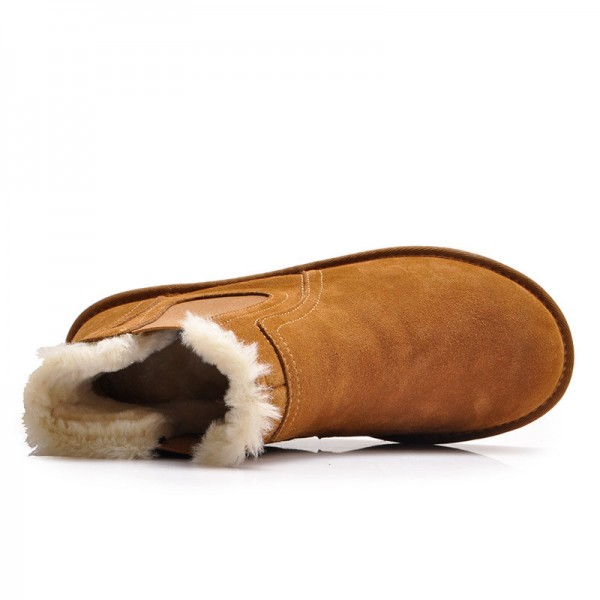Warm Fur Snow Men Chelsea Boots Fashion Suede Slip On Ankle Snow Male Shoes Teenager Non Slip Footwear Extra Image 4