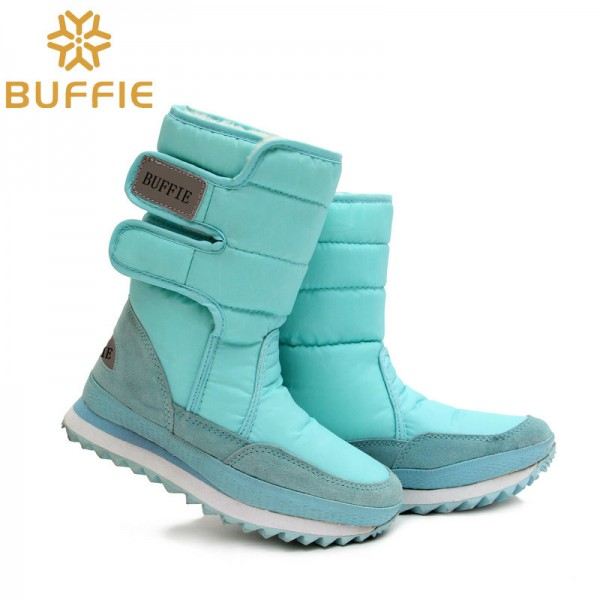 Warm Leather Shoes High Quality Winter Footwear For Ladies Sky Blue Snow Boots Fur Lining Girls Boot