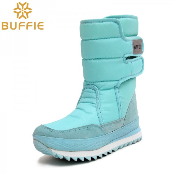 Warm Leather Shoes High Quality Winter Footwear For Ladies Sky Blue Snow Boots Fur Lining Girls Boot Extra Image 2