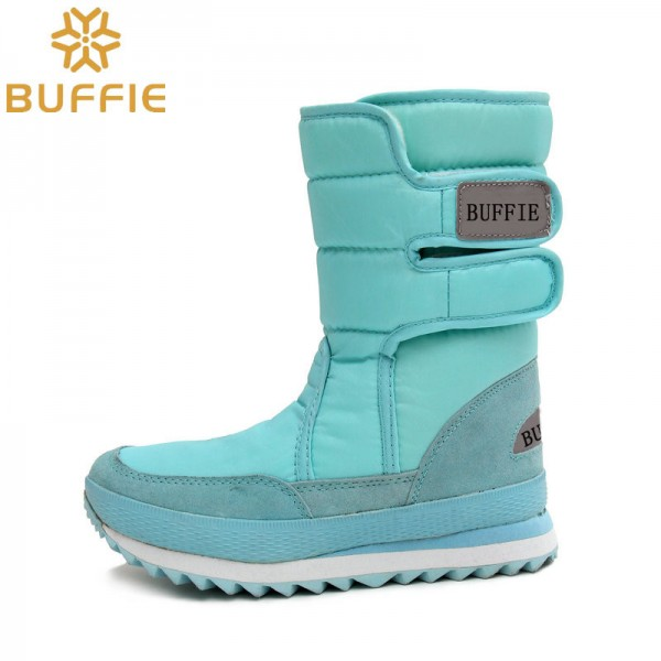 Warm Leather Shoes High Quality Winter Footwear For Ladies Sky Blue Snow Boots Fur Lining Girls Boot Extra Image 3