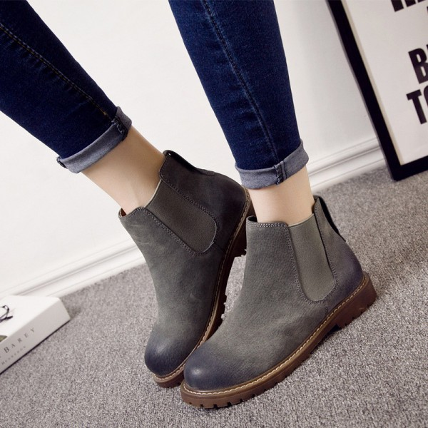 ee5e4191b50 Warm Winter Boots Pure Leather Ankle Boots Slip On Creepers Casual Flat  Heel Female Shoes Ladies Footwear