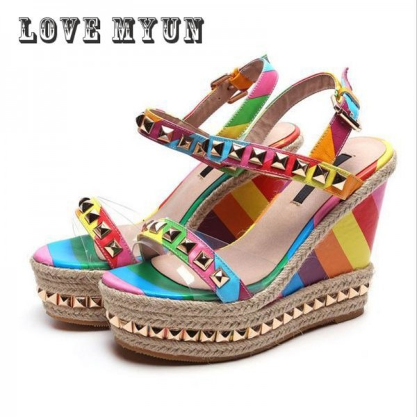 Wedge Sandals Rainbow Ethnic High Heeled Leather Shoes Women Fish Head Rivet Party Sandals Girls Glitter Platform Extra Image 3