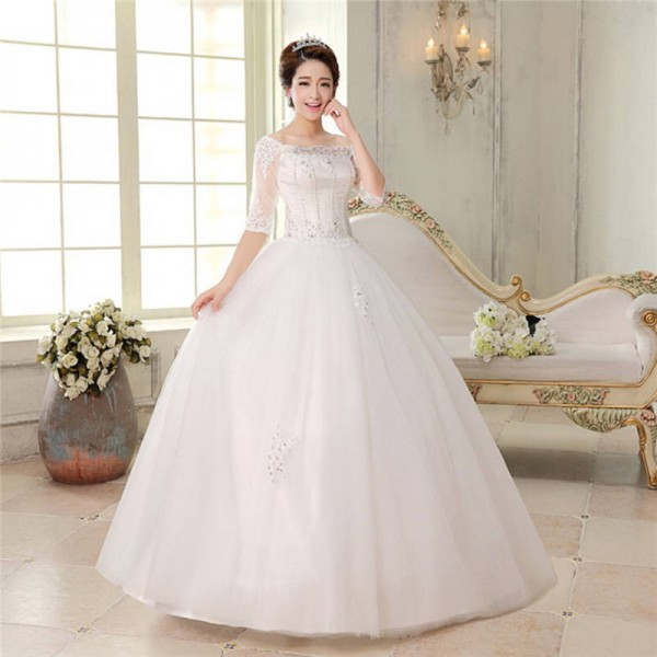 Weonedream Half Sleeve Beading Wedding Dress Ball Gown Wedding Dress ...