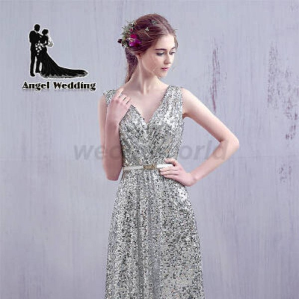 Weonedream Sequins Evening Dress Floor Length Party Dress Backless ...