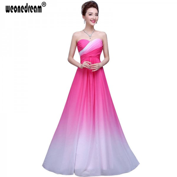 Weonedream Strapless Floor Length A Line Long Ombre Prom Dress Chiffon Women Dress Evening Party Gown Thumbnail
