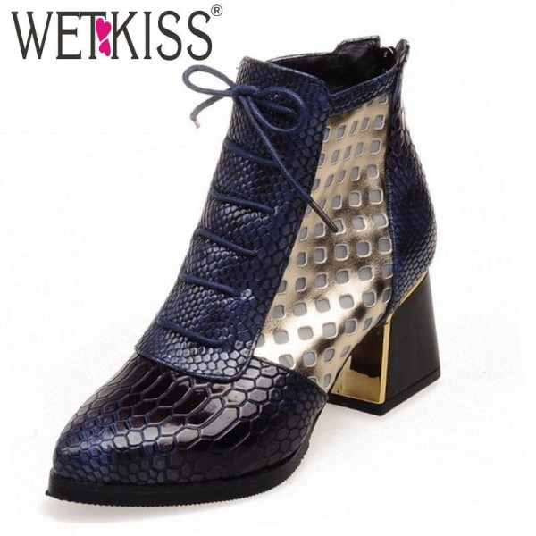 Wet Kiss Pointed Toe Snake Print Ankle Hoof High Heel Boots Shoes For Women Thumbnail