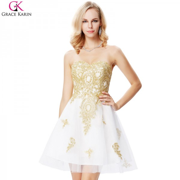 Buy White And Gold Prom Dresses Short Formal Ball Gowns Satin ...