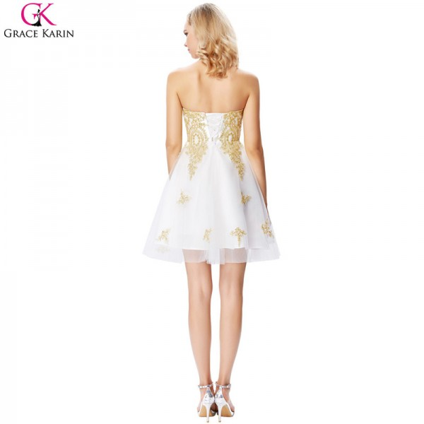 White And Gold Prom Dresses Short Formal Ball Gowns Satin Elegant Special Occasion Dress For Wedding Party Extra Image 2