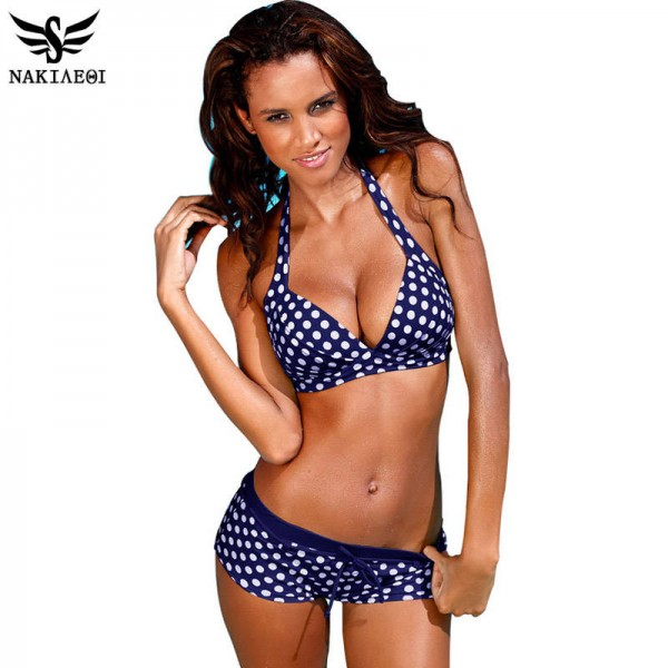 White Dotted Sexy Two Piece Swimwear For Ladies Retro Push Up Vintage Bathing Suits For New Summers Extra Image 0