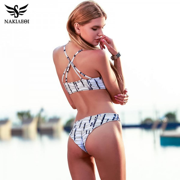 White Sexy Bikini Swimwear For Women Halter Printed Brazilian Bikini Set Bandage Swimwear For Girls Extra Image 1