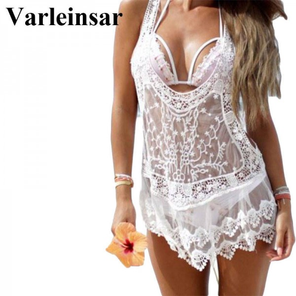 White Sexy Women Mesh Sheer Lace Beach Cover Up Bikini Swimsuit Bathing Suit Swimwear Dress For Women Thumbnail