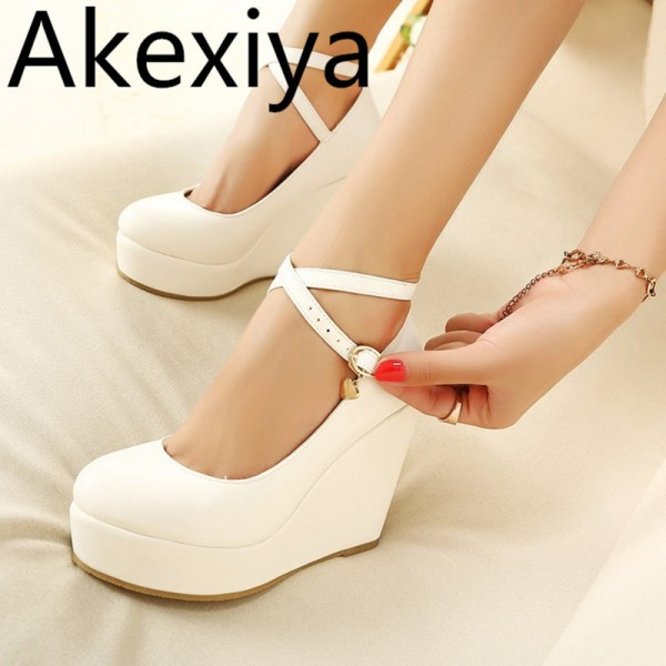 White Wedges Shoes Pumps For Women Wedges High Heels Wedges Pumps White High Heels Shoes Platform Wedges Heels Extra Image 1
