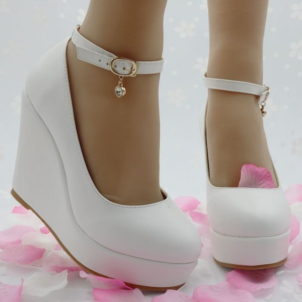 White Wedges Shoes Pumps For Women Wedges High Heels Wedges Pumps White High Heels Shoes Platform Wedges Heels Extra Image 4