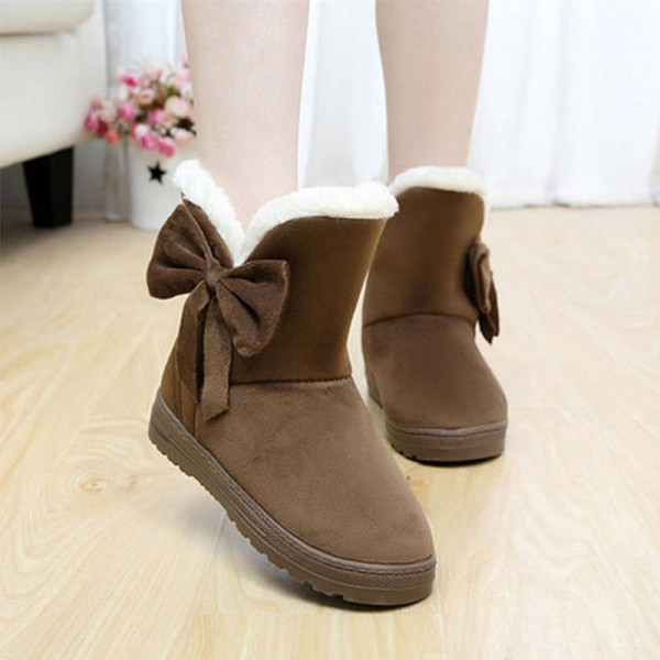 10897fd40a5d0 Winner Thicken Bow Tie Ankle Casual Solid Winter All Season Boots For Women  New Thumbnail ...