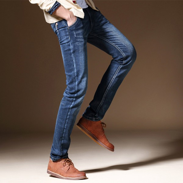 Winter Autumn Mens Skinny Jeans Slim Fit Washed Denim Pants Cotton Stretch Fashion Thick Jean Plus Size Male Trousers