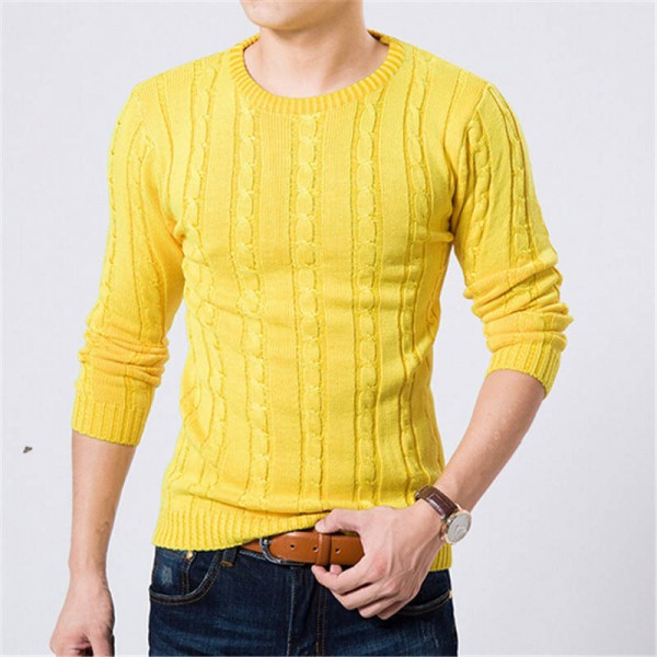 Winter Autumn Sweater O Neck Casual Office Wear Long Sleeve Knitted For Men Thumbnail