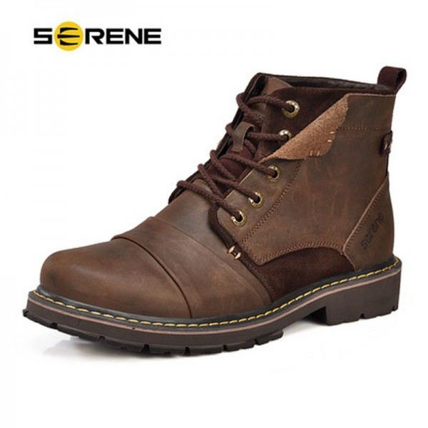 Winter Boots Size 35 45 Warmest Genuine Leather Russian style Men Snow Boots Cow Split Leather Men Tooling Boot