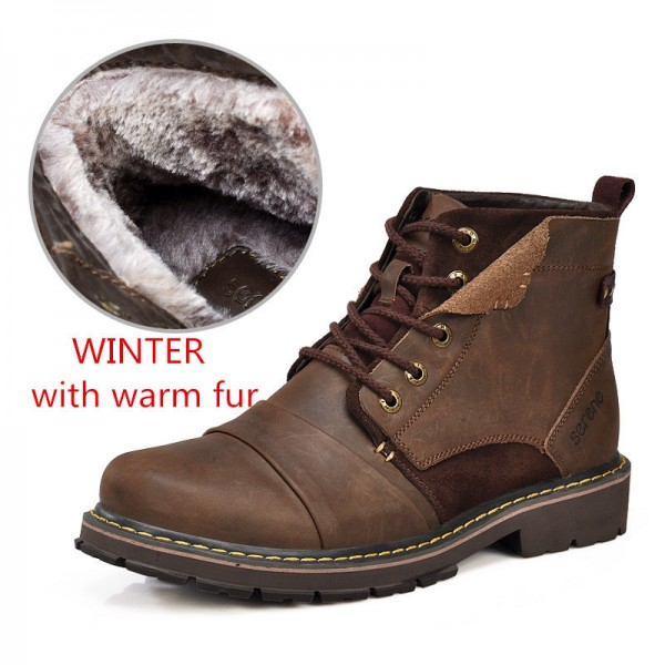 Winter Boots Size 35 45 Warmest Genuine Leather Russian style Men Snow Boots Cow Split Leather Men Tooling Boot Extra Image 3