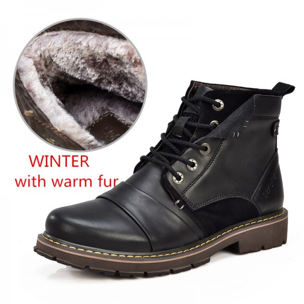 Winter Boots Size 35 45 Warmest Genuine Leather Russian style Men Snow Boots Cow Split Leather Men Tooling Boot Extra Image 4
