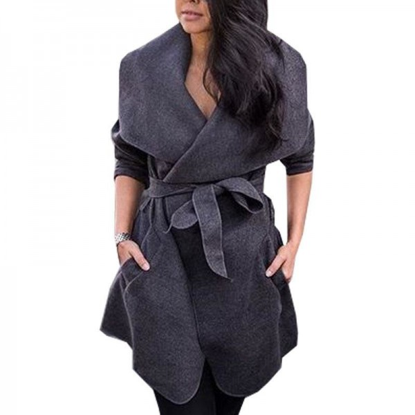 Winter Cardigan Coat Female Solid Color Belt Big Turn Down Collar With Pockets Coat Jacket For Women Outerwear