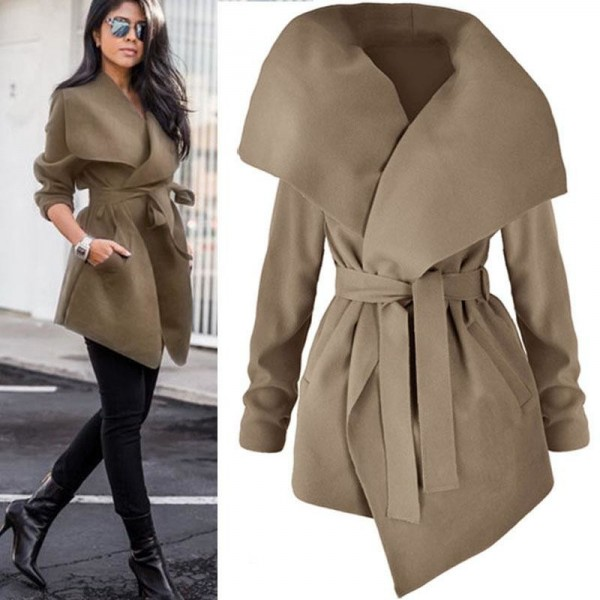 Winter Cardigan Coat Female Solid Color Belt Big Turn Down Collar With Pockets Coat Jacket For Women Outerwear Extra Image 4
