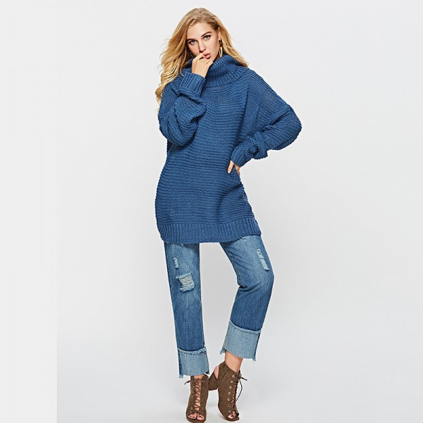 Winter Casual Long Sleeve Cardigan Sweater For Ladies Knitted Solid Color Turtleneck Pullover Loose Sweater Extra Image 1