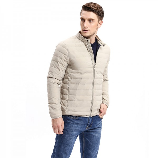 Winter Casual Solid Color Slim Fit Warm Down Coat Men Down  Light Weight Jacket Stand Collar Male Fashion Jackets