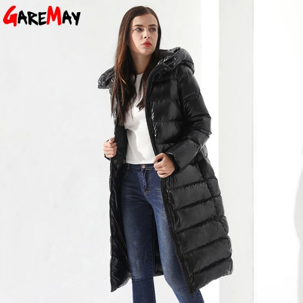 Winter Down Jacket For Women Doudoune Femme Long Feather Jacket Hooded Down Coats Women Parkas Black Outwear Extra Image 2