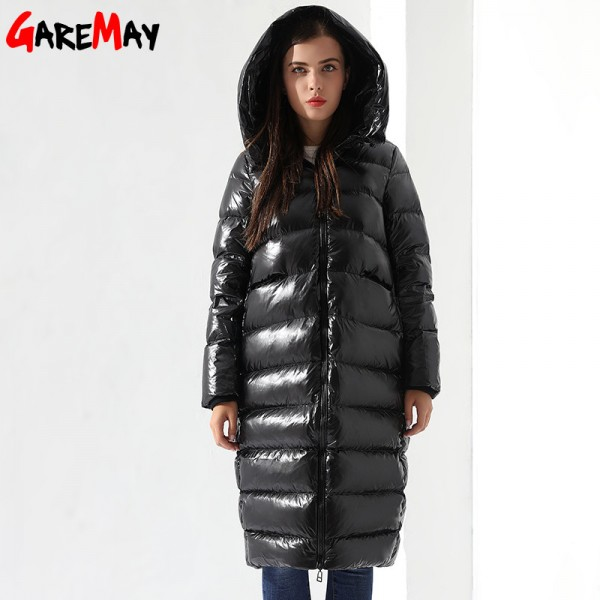 2a1e7d8057d Winter Down Jacket For Women Doudoune Femme Long Feather Jacket Hooded Down  Coats Women Parkas Black Outwear