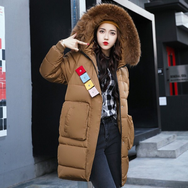 52e4fc2cb Winter Fashion Jacket Women Faux Fur Collar Hooded Thickening Parka Jackets  Medium Long Cotton Padded Female Coat
