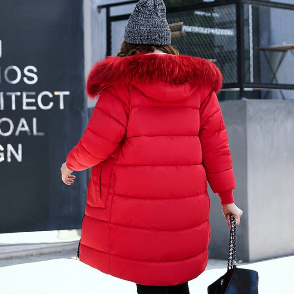 Winter Fashion Jacket Women Faux Fur Collar Hooded Thickening Parka Jackets Medium Long Cotton Padded Female Coat Extra Image 3