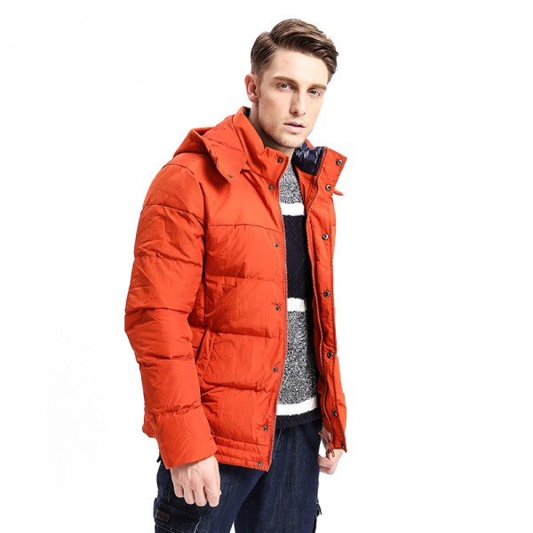Winter Fashion New  Men Down Coat Hoodie Jacket Turn Down Warm Solid Color Fashion Down Multi Pockets Parka Extra Image 2