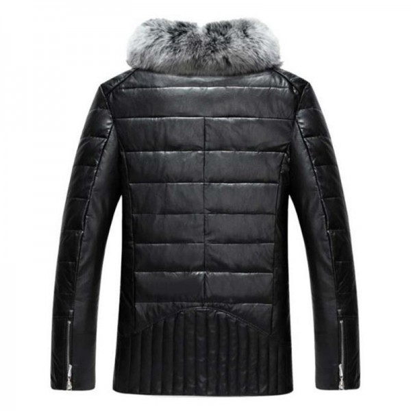 Winter high grade men down jacket leather jacket business casual warm men coat windproof solid color collar Extra Image 3