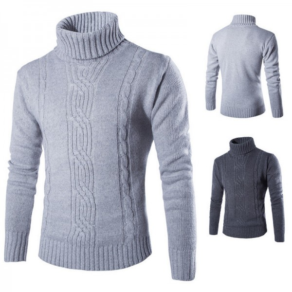 Winter High Neck Thick Warm Sweater Men Turtleneck Mens Sweaters Slim Fit Pullover Men Knitwear Male Double Collar Extra Image 1