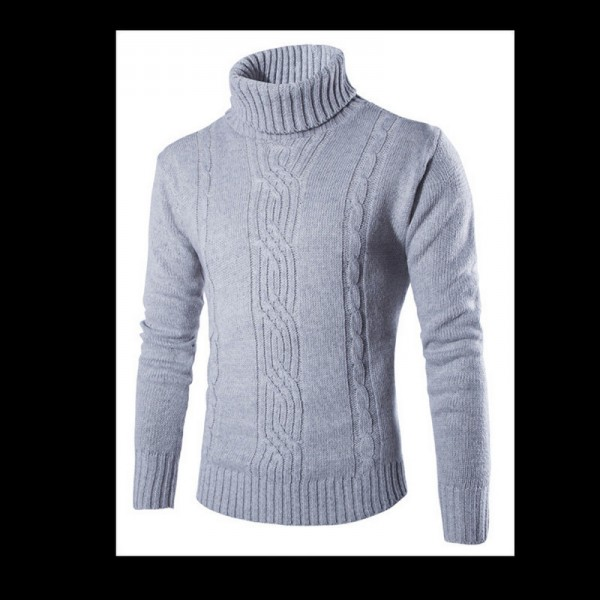 Winter High Neck Thick Warm Sweater Men Turtleneck Mens Sweaters Slim Fit Pullover Men Knitwear Male Double Collar Extra Image 3