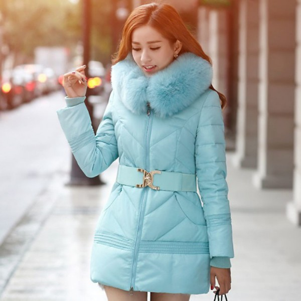 Buy JOLINTSAI Winter Jacket Women Big Fur Hooded Parka Thick ...
