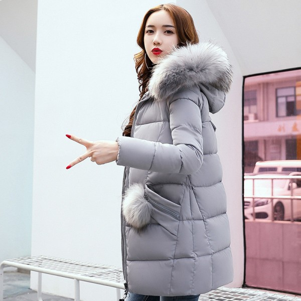 Winter Jacket Women Medium Long Winter Jackets Parka Ladies Fur Collar Padded Coats Outwear Womens Winter Jackets Extra Image 2
