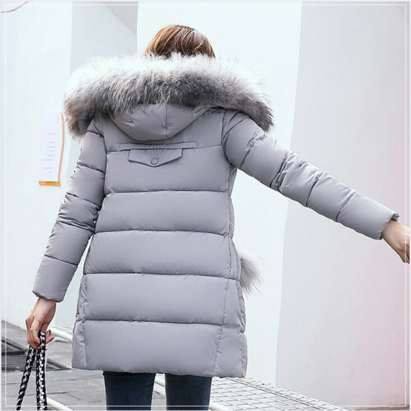 Winter Jacket Women Medium Long Winter Jackets Parka Ladies Fur Collar Padded Coats Outwear Womens Winter Jackets Extra Image 3