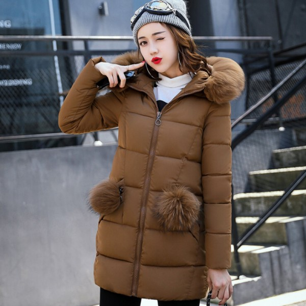 Winter Jacket Women Medium Long Winter Jackets Parka Ladies Fur Collar Padded Coats Outwear Womens Winter Jackets