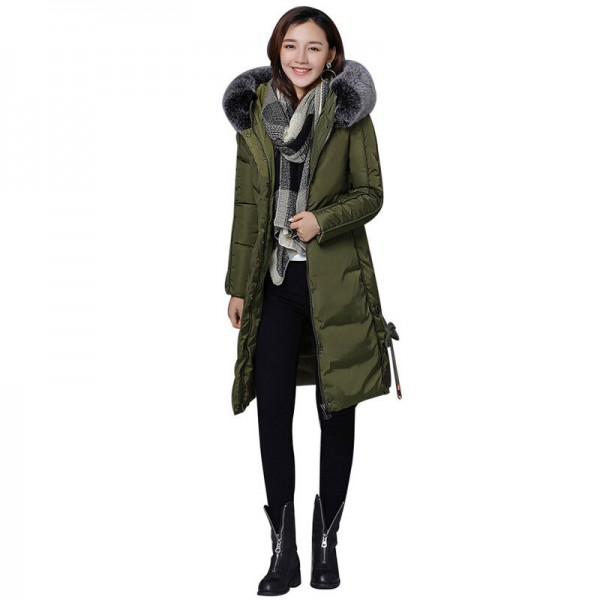 Winter Jacket Women New Large Fur Collar Coat Female Parkas Medium Long Warm Padded Cotton Winter Jackets Extra Image 2