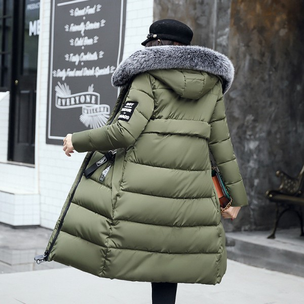 Winter Jacket Women Parka New Fur Collar Cotton Padded Coats Women Parkas Long Slim Thickened Warm Overcoat Extra Image 4