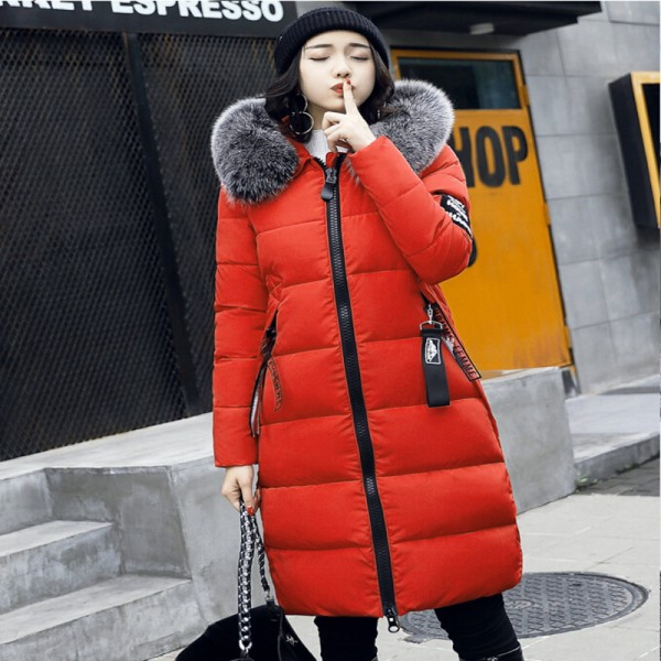 c8b3dec486b Buy Winter Jacket Women Parka New Fur Collar Cotton Padded Coats Women  Parkas Long Slim Thickened Warm Overcoat